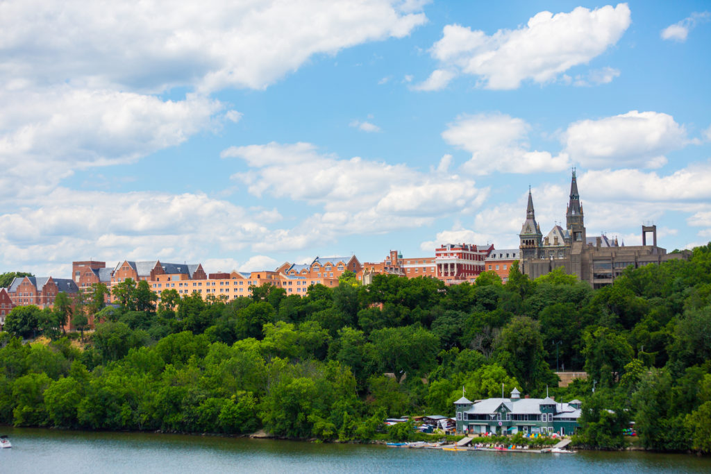 This is a photograph of Georgetown University as seen from the Key Bridge.